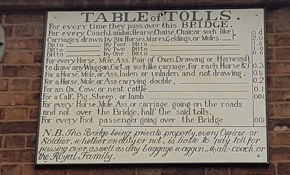 Table of tolls on the Iron Bridge